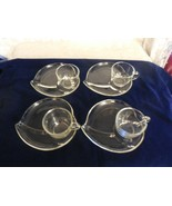 4 Leaf Shaped Snack Plates with Hazel Atlas Cups - $19.79