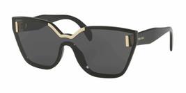 Prada SPR16T 1AB5S0 48MM Black Gold / Gray Cateye Shield Sunglasses PR 16TS - $148.49