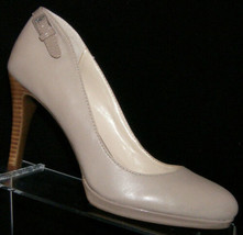 Franco Sarto Demi taupe almond toe buckle accent slip on platform heels ... - $25.29