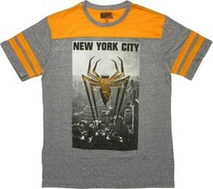 Marvel Comics Spider-Man Logo Over New York City Jersey Style T-Shirt NEW UNWORN - $21.17+