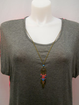 SAY ANYTHING Women's Knit Top Sheer Back Solid Pink Gray Necklace Plus S... - $39.97