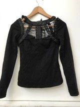 Punk Rave Top Black Lace Up Cage Long Sleeve Shirt Gothic XS/S T-428 NWT - $42.95