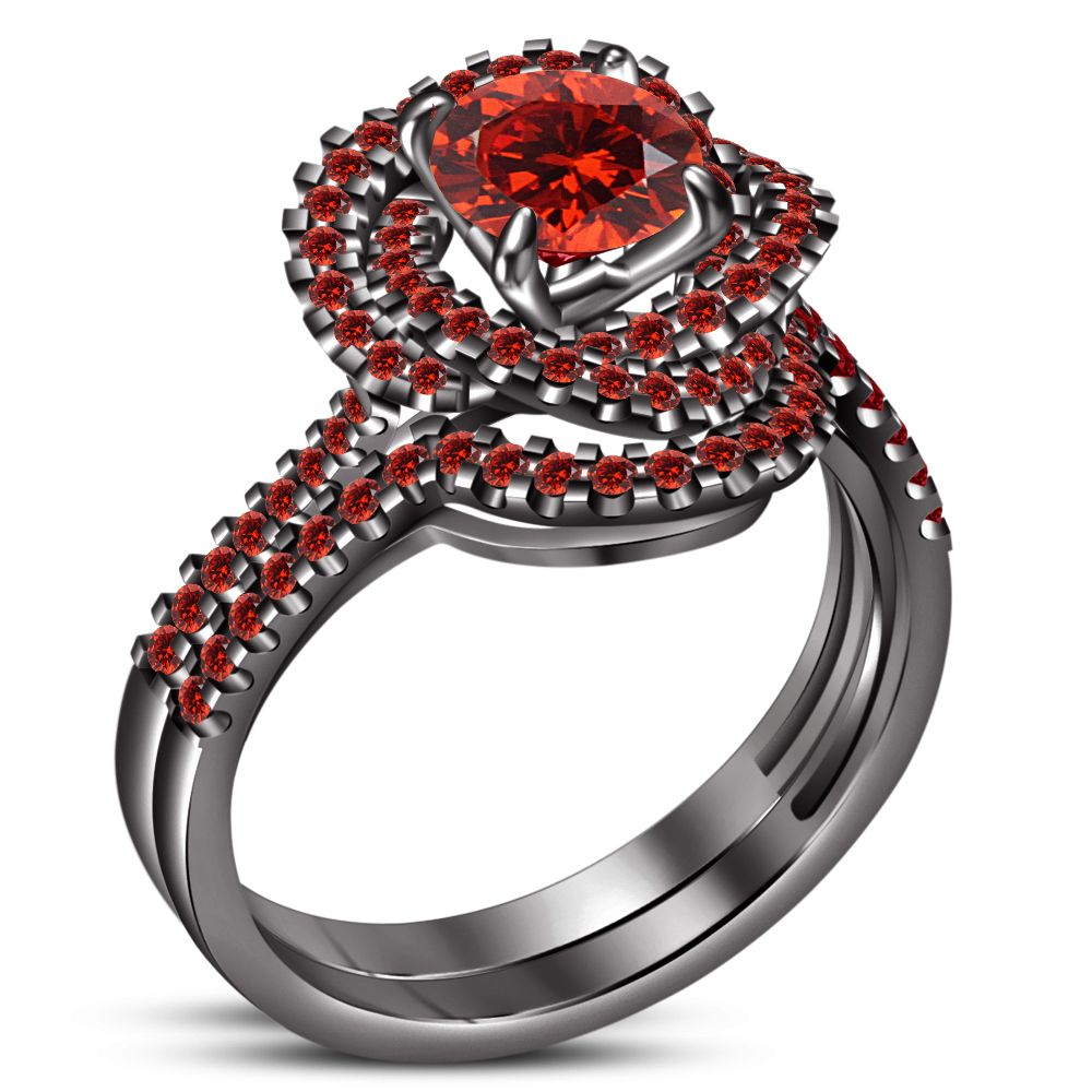 Primary image for 14k Black Gold Finish 925 Sterling Silver Red Garnet Womens Anniversary Ring Set
