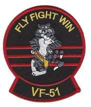 US Navy VF-51 Vertical Fighter Squadron F-14 Tomcat Patch Fly Fight Win   - $11.87