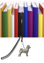 Akita Pewter Emblem on a Pattern bookmark for books organisers codeUS38 - $13.10