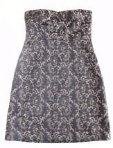 Ann Taylor LOFT Size 10 BLACK GOLD Jacquard Strapless A Line Dress Holid... - $29.67