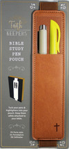 Faith Keepers Bible Study Pen Pouch BROWN NEW Leather PU Elastic For Fle... - $13.10