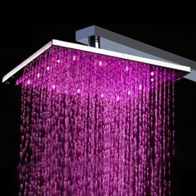 Primary image for 10 inch Brass Shower Head with Color Changing LED Light