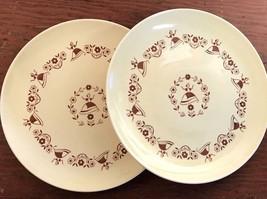 Royal USA China Gretchen 2 Dinner Plates Vintage Estate Dutch Lady Yello... - $32.33