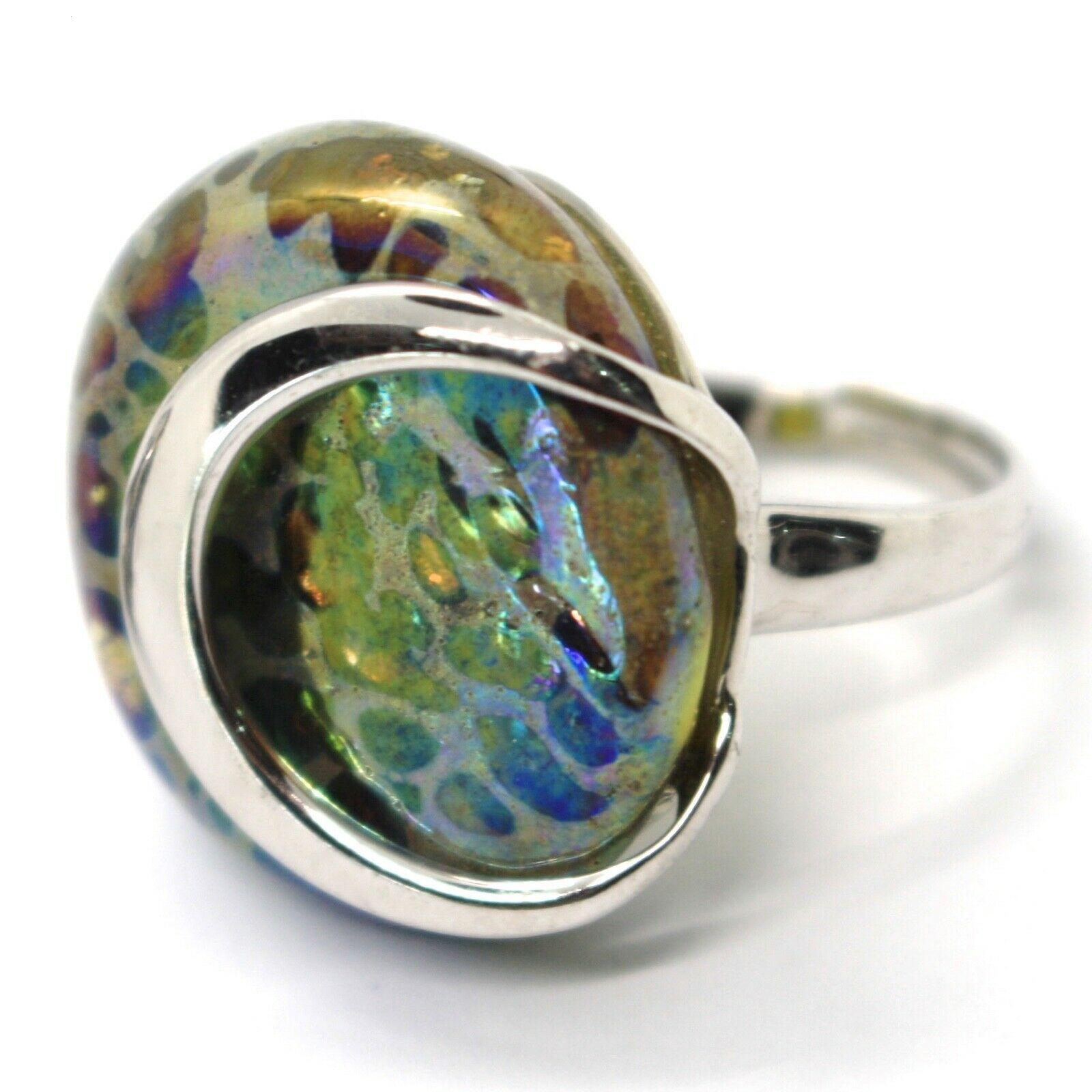 Ring Antica Murrina, Murano Glass, Disco Convex, Yellow Green Blue