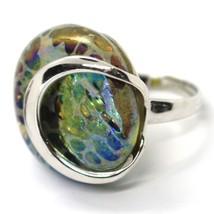 Ring Antica Murrina, Murano Glass, Disco Convex, Yellow Green Blue image 1