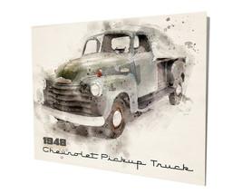 1948 Chevrolet Dark Green Pick Up Truck Design 16x20 Aluminum Wall Art - $59.35