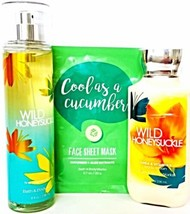 Bath & Body Works Wild Honeysuckle Body Splash, Body Lotion & Face Mask ... - $28.71