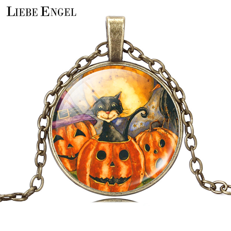 LIEBE ENGEL Vintage Silver Color Jewelry Halloween Pumpkin Necklace&Pendants Cat