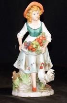 Girl Figurine Holding Fruit Homco 8881 AA18 - 1087 Vintage - $39.95