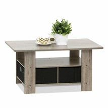 Home Office Coffee Table With Bin Drawers Storage French Oak Grey-Black ... - $45.99