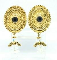 Black Rhinestone Angel Clear Crystal Dangle Gold Tone Medallion Post Earrings - $19.79