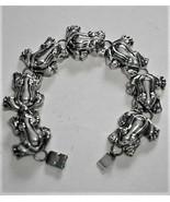 Gorgeous Shiny Bright Silver-color Frog Bracelet signed Best Vintage - $39.95