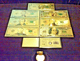 ☆LUCKY 11Pc.LOT~SILVER BAR+COIN+$1,2,5,10,20,50,$100 BANKNOTE REPS.*W/CO... - $28.58