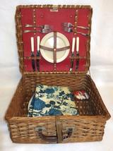 Vintage Abercrombie & Fitch England Wicker Picnic Set Basket Hamper + 16... - €65,73 EUR