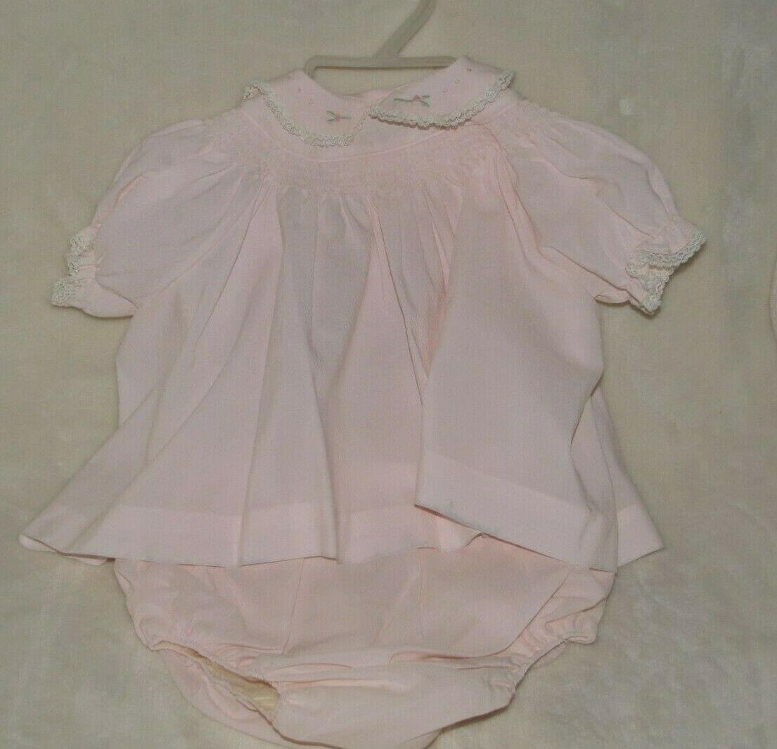 Primary image for Vintage Pale Pink Smocked Carters Baby/Toddler Girl Dress Flowers Diaper Cover