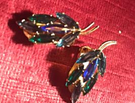 Vintage antique earrings blue green rhinestone 1950 costume jewelry gold... - $10.00