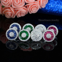 Earrings Stud For Women Fashion Ear Crystal CZ Jewelry Stone Big Round  - $11.99