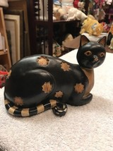 Cat Figurine Resin Figure Black With Striped Tail - $31.35