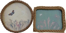 17075 Two Antique Wicker Glass Trays with Butterflies - $75.00