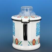 "Vintage Berggren Sweden Porcelain Enamelware Coffee Pot Percolator 6"" 2 Cup image 2"