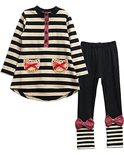 Urtrend Little Girls' Kids Long Sleeve Top Pants Leggings Set Outfits140,Black