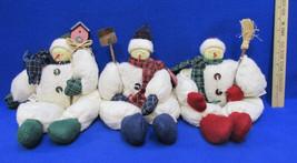 Snowman Plush Shelf Sitter Figurine Christmas Winter Shovel Birdhouse Br... - $9.49