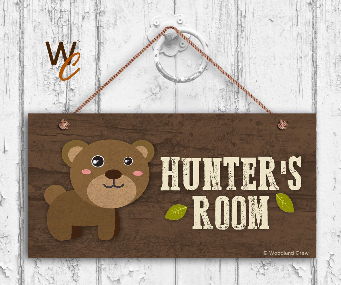 Bear Sign, Woodland Personalized Sign,Kid's Name, Kids Door Sign, 5x10 Sign