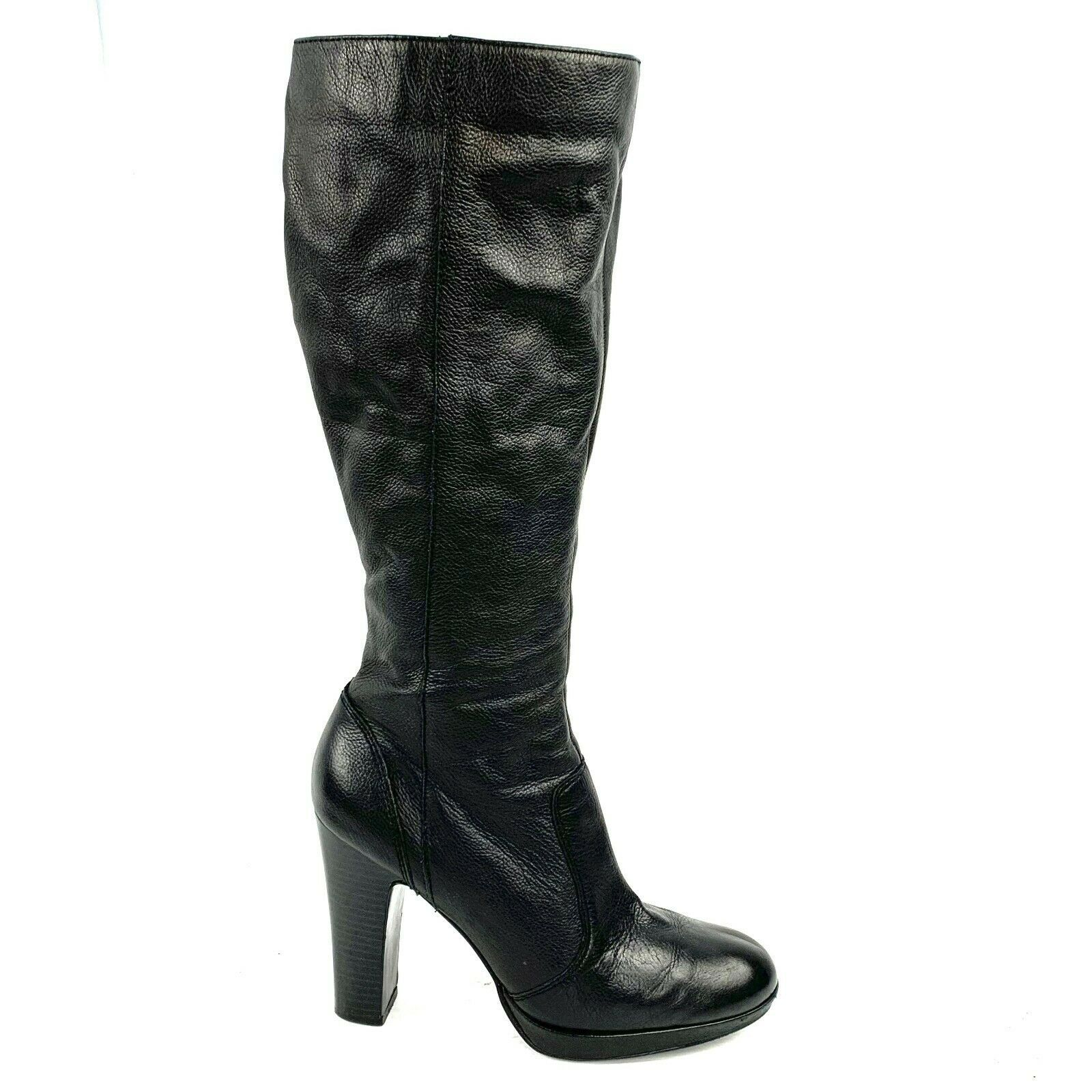 "Primary image for SIMPLY VERA  by Vera Wang ""Brie"" Black Leather Platform Zip Heel Boots Size 8 M"