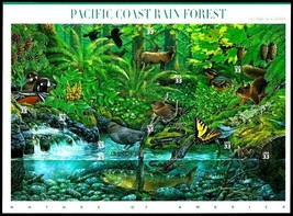 USA 2000 SC#3378 Pacific Coast Rain Forest Duck Trout Squirrel, Stamps M... - $14.36