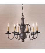 """CHESTERFIELD"" CHANDELIER - 6 Arm Textured Black Wood & Metal Light USA Handmade - £264.59 GBP"