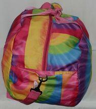 Molly N Me Brand 522B005 Rainbow Tie Dye Girls Duffle Bag With Flower Detail image 4