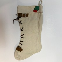 Handmade Christmas Stocking Lace up with Buckle on Heavy Natural Muslin ... - $14.78