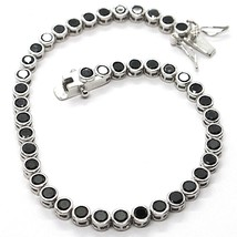 Tennis-Armband, 925 Silber, Zirkonia Kubische Schwarze, Brillantschliff,... - $43.22