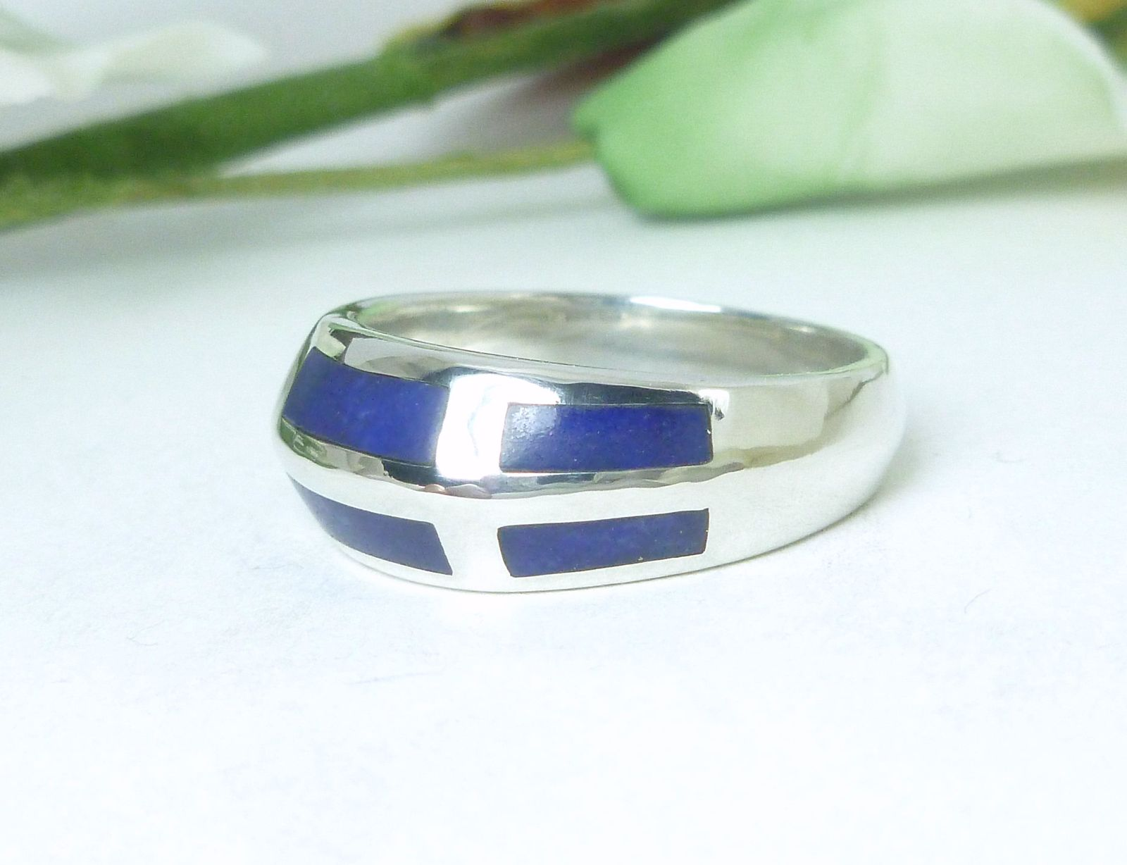 Sterling Silver Lapis Lazuli Gemstone Inlay Sterling Band Ring Size 6