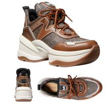 Michael Kors Women's Olympia Trainer Glitter Chain Mesh Bronze Sneaker S... - $169.95