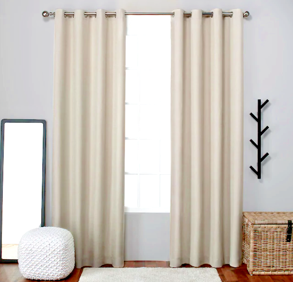 Primary image for Exclusive Home Two Pack Loha Curtain Panels Linen Grommet Top Beige 54 x 84