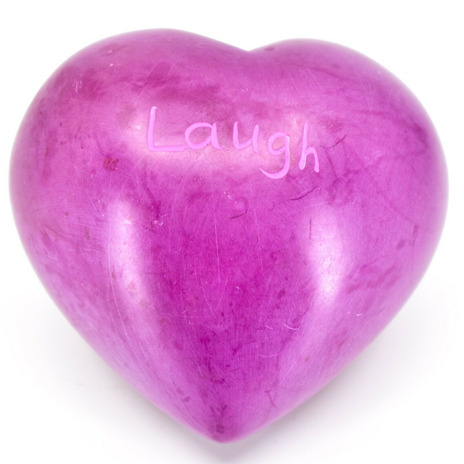 """Vaneal Group Hand Carved Soapstone 2-Sided """"Laugh"""" Fuchsia Heart Paperweight"""