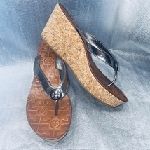 Tory Burch Silver Patent Leather Cork Wedge Sandal, Style THORA, Women S... - $89.00