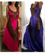 Nylon Long Nightgown Purple with V Black Lace Insets S M Gowns - $22.00