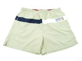 NAUTICA NS-83 Swim Trunks Shorts Beige White Logo XXL Competition Nettin... - $16.78