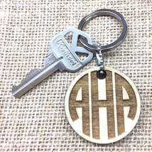 Natural Poplar Wood Round Cut Personalized Keychain Key tag with Quote - $6.79