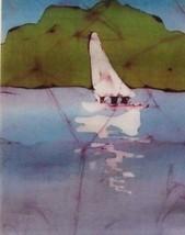 Landscape Impressionism Sarah Hale '88 SIGNED Batik Vintage Sailboat Ple... - $71.65