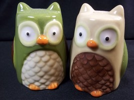"Pair of ceramic owl shakers green & brown 3"" tall - $9.27"