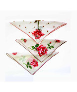 Lot of 3 Big as Texas Red Rose 1950s Vintage Handkerchiefs White Backgro... - $16.90
